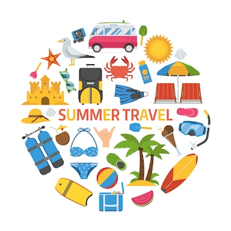 Summer travel icon set in circle shape.