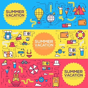 Summer travel infographic icons items banners design