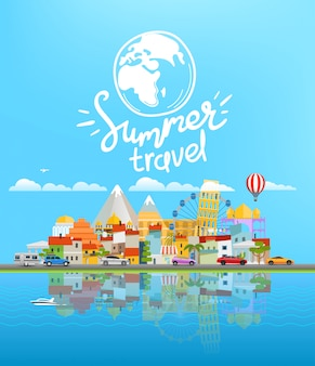 Summer travel  landscape with different vehicles