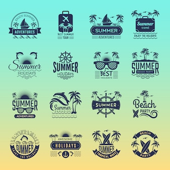 Summer travel logos. retro tropical vacation badges and symbols palm tree drinks beach tour on island vector pictures collection