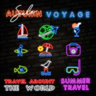 Summer travel neon icons.