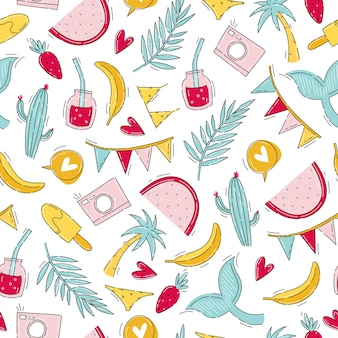 Шаблон летнего путешествия для вечеринки с яркими элементами в стиле рисованной