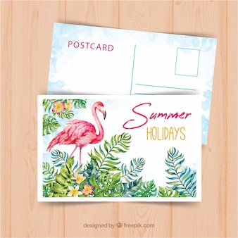 Summer travel postcard template with watercolor style