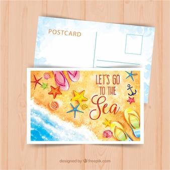 水彩スタイルの夏の旅行ポストカードテンプレート