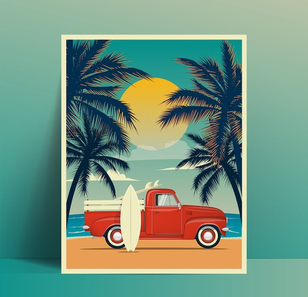 Summer travel poster design with vintage surfing truck on the beach with surfboard in the trunk and second surf board leaned to the car body and palms silhouettes at sunset. illustration