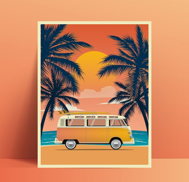 Summer travel poster design with vintage surfing van on the beach with palms silhouettes at sunset. illustration
