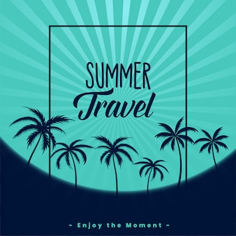 Summer travel poster with palm trees