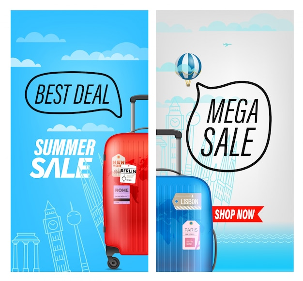 Summer travel sale banner, best deal and mega sale
