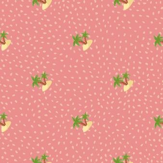落書きの緑の島とヤシの木のプリントで夏の旅行のシームレスなパターン。ドットとピンクの背景。ファブリックデザイン、テキスタイルプリント、ラッピング、カバー用に設計されています。ベクトルイラスト。