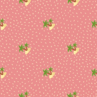Summer travel seamless pattern with doodle green island and palm tree print. pink background with dots. designed for fabric design, textile print, wrapping, cover. vector illustration.