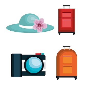 Summer travel set isolated icons vector illustration design