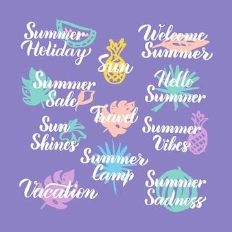 夏の旅行時間手描きの引用。手書きレタリング季節のデザイン要素のベクトルイラスト。