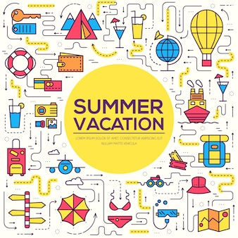 Летние путешествия поездки инфографики значки элементов. каникулярный отдых с любым набором элементов.