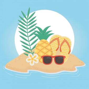 Summer travel and vacation flip flops pineapple sunglasses tropical beach flower vector illustration