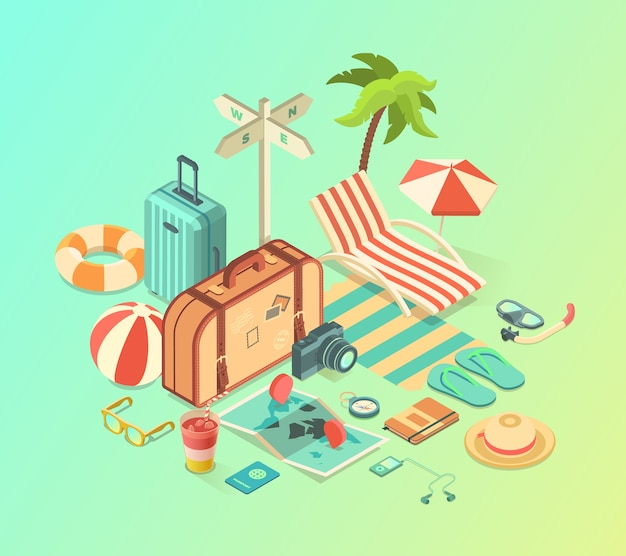 Summer travel and vacation isometric accessories