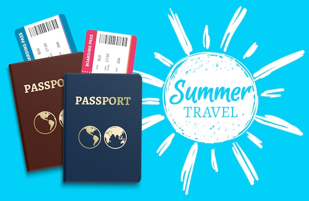 Summer travel vector with sketch sun and realistic passports