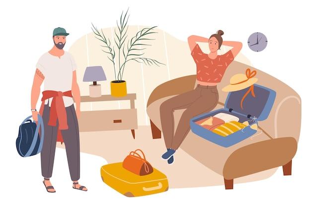 夏の旅行ウェブコンセプト。カップルはスーツケースに服を詰めて休暇に行きます。男と女が一緒にリゾートに行く