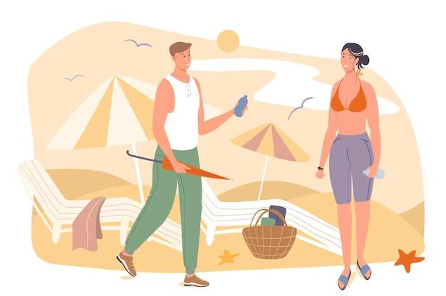 夏の旅行ウェブコンセプト。海沿いのビーチで休んでいるカップル。サンラウンジャーのそばに立っている日光浴をしている女性に日焼け止めを与える男