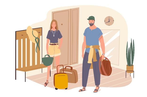 夏の旅行ウェブコンセプト。スーツケースを持ったカップルが廊下に立ち、休暇に出かけます。男と女が一緒にリゾートに行く