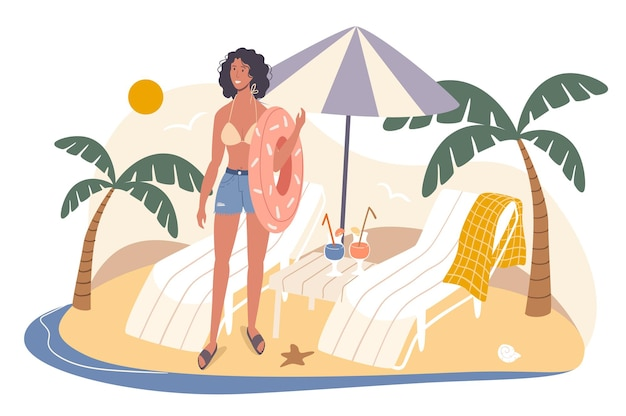 Концепция сети летних путешествий. женщина отдыхает на берегу моря, держа резиновое кольцо. молодая девушка стоит возле шезлонгов под зонтиком