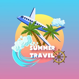 Summer travel with palm trees, airplane, ocean waves, ship wheel, cloud on the sunset sky.