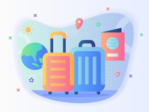 フラットスタイルの夏旅行コンセプトスーツケースパスポート地球太陽。