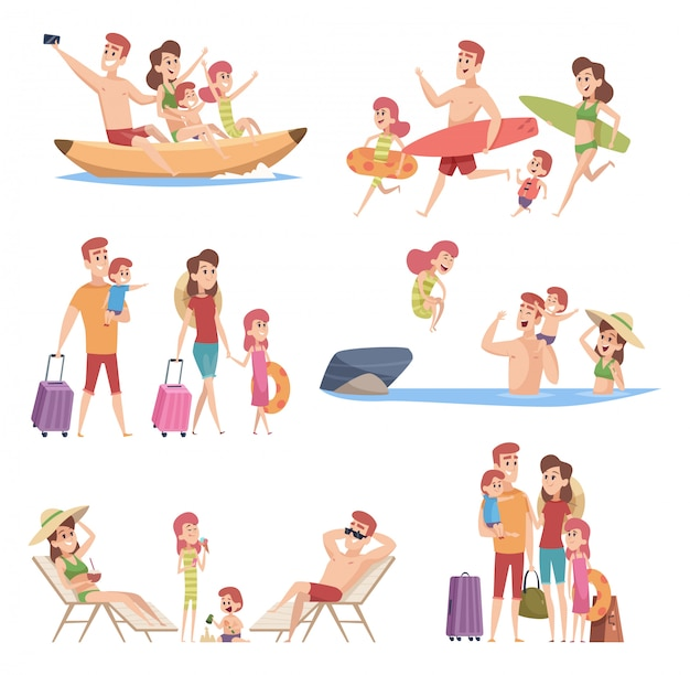 Summer travellers. happy love couple with childrens beach walking vacation trip outdoor adventure vector characters collection