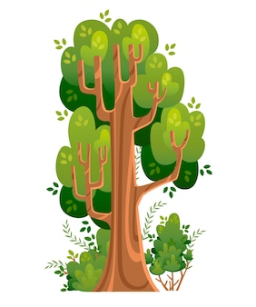 Summer tree and bushes in  . green spaces.  illustration