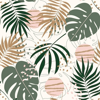 Summer trend abstract seamless pattern with tropical leaves