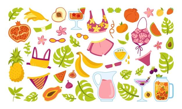 여름 유행 만화 세트입니다. 여름철 아이스크림, 칵테일 항아리, 비키니, 음료 몬스 테라 수박