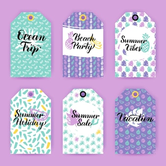 Summer trendy gift labels. vector illustration of 80s style shop tag design with handwritten lettering.