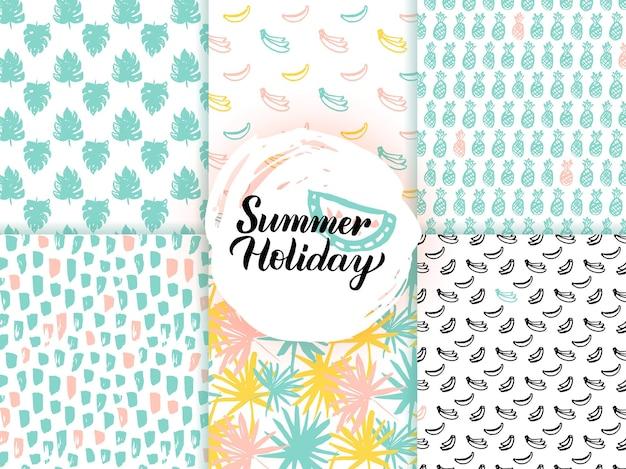夏のトレンディなシームレスパターン。自然タイルの背景のベクトルイラスト。