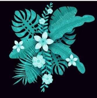 여름 유행 템플릿 이국적인 식물과 히 비 스커 스 꽃 열 대 배경. 트렌드 패턴 정글