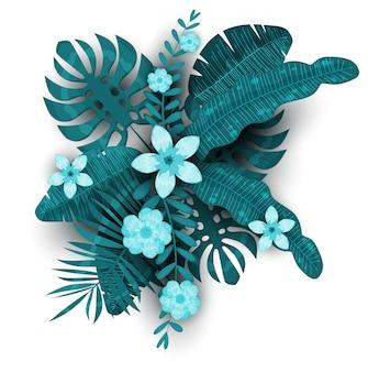 夏のトレンディなテンプレートのエキゾチックな植物とハイビスカスの花熱帯背景