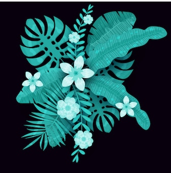 Summer trendy template exotic plants and hibiscus flowers tropical background. trend pattern jungle