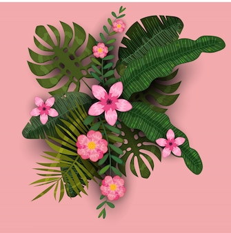 Summer trendy template exotic plants and hibiscus flowers tropical background