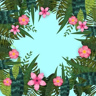 여름 유행 열 대 잎과 꽃. 디자인. 이국적인 식물과 히비스커스 꽃의 배경 템플릿