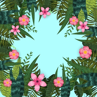 Summer trendy tropical leaves and flowers. design. background template of exotic plants and hibiscus flowers