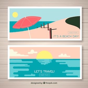Summer trip banners with flat design