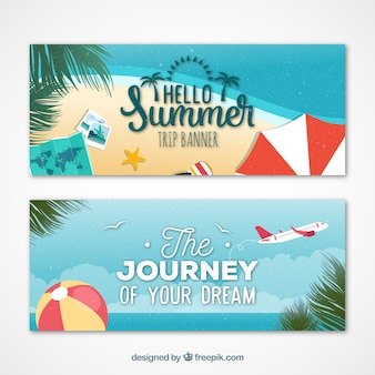 Summer trip on the beach banners