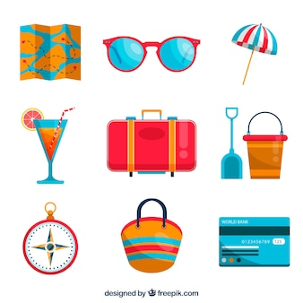 Summer trip element collection with flat design