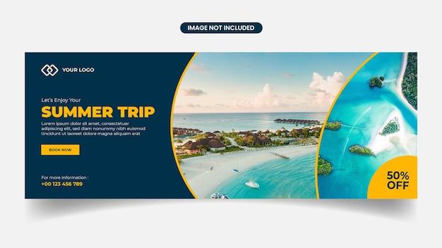 Summer trip facebook cover design template