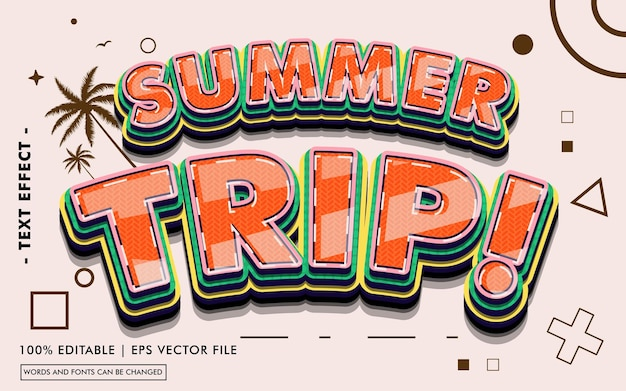 Summer trip! text effect style