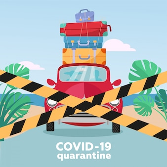 Summer trip under virus quarantine - closed borders - blocking road concept. people in a red car with suitcases on the roof cannot go on vacation.  flat illustration.