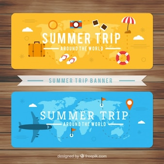Summer trip with beach elements banners