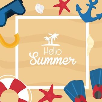 Summer tropic vacation design. sea shore and swimming accessories