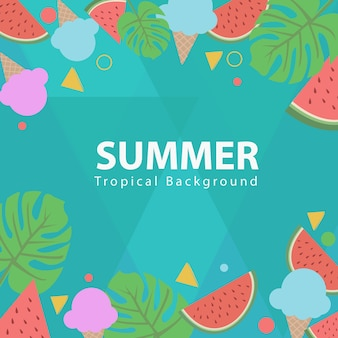 Summer tropical background and icon