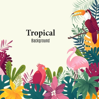 Summer tropical background palm leaves birds vector image.