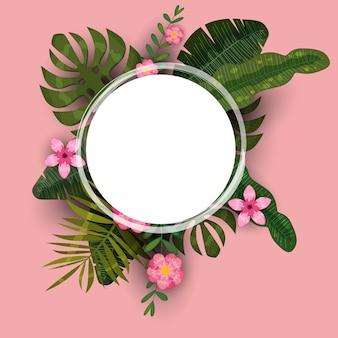 이국적인 식물과 히비스커스 꽃의 여름 열대 배경 템플릿