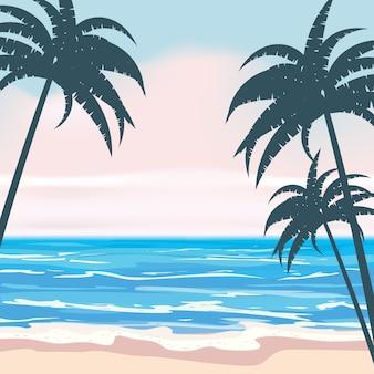 이국적인 야자수 잎과 식물, 해안 파도 서핑 바다, 바다와 여름 열 대 배경. 트렌드 스타일 디자인